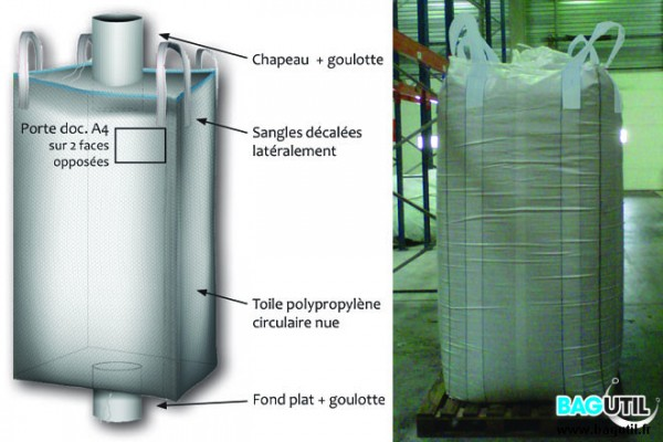 Big bag plasturgie - 2100 L -  cylindrique